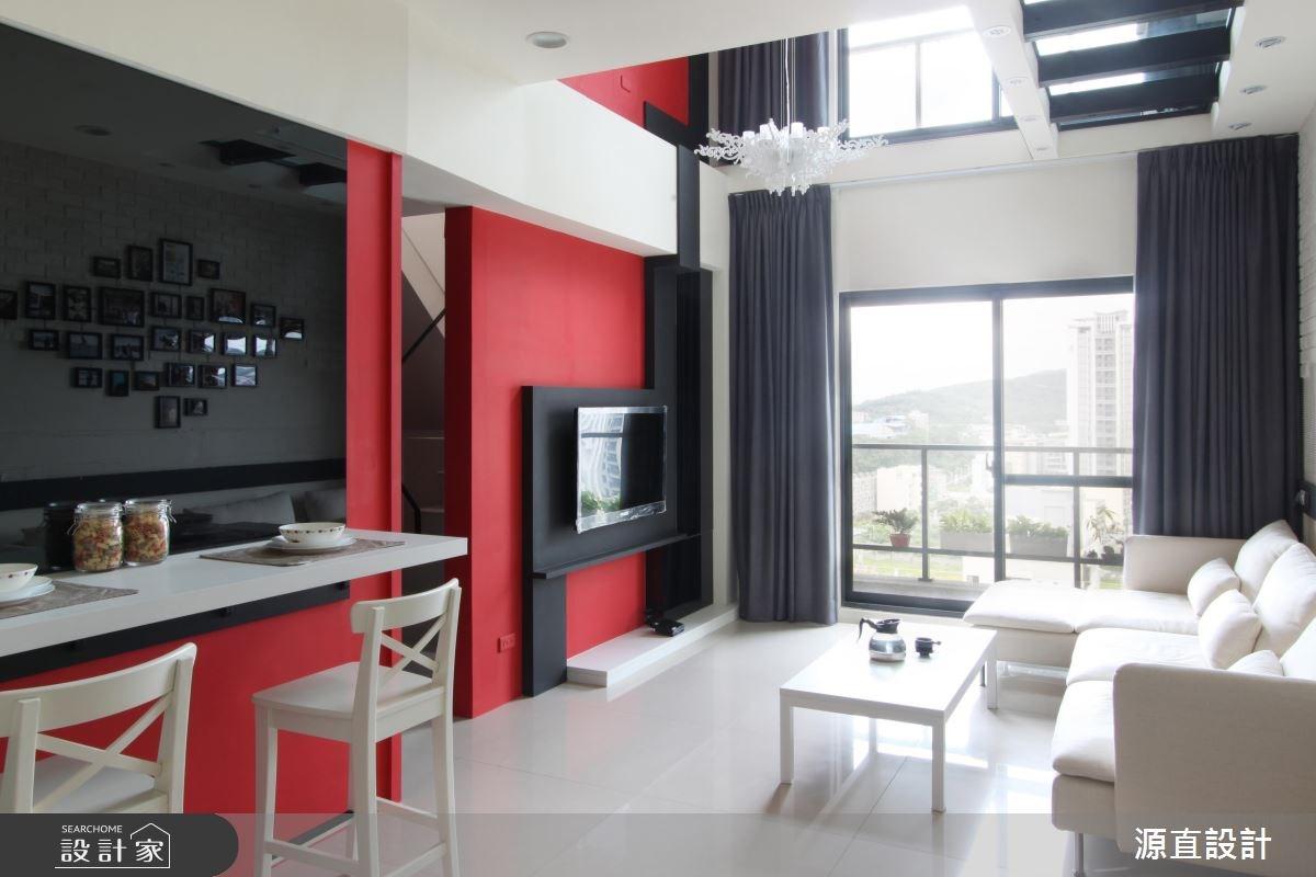 紅與黑撞色混搭 拼出 35 坪樓中樓奢華現代感!