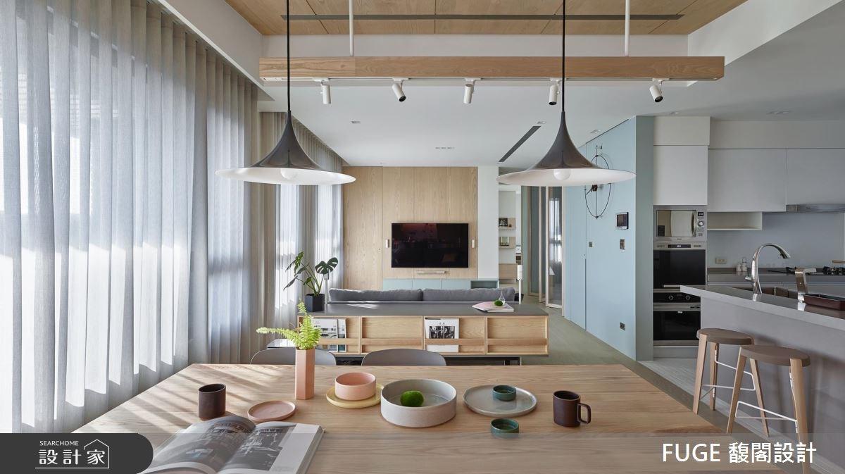 開放空間+中島美廚+遊戲室 共創一家三口嬉遊的北歐家園