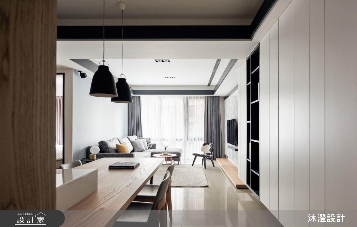 俐落黑白巧搭自然建材,打造現代風型宅