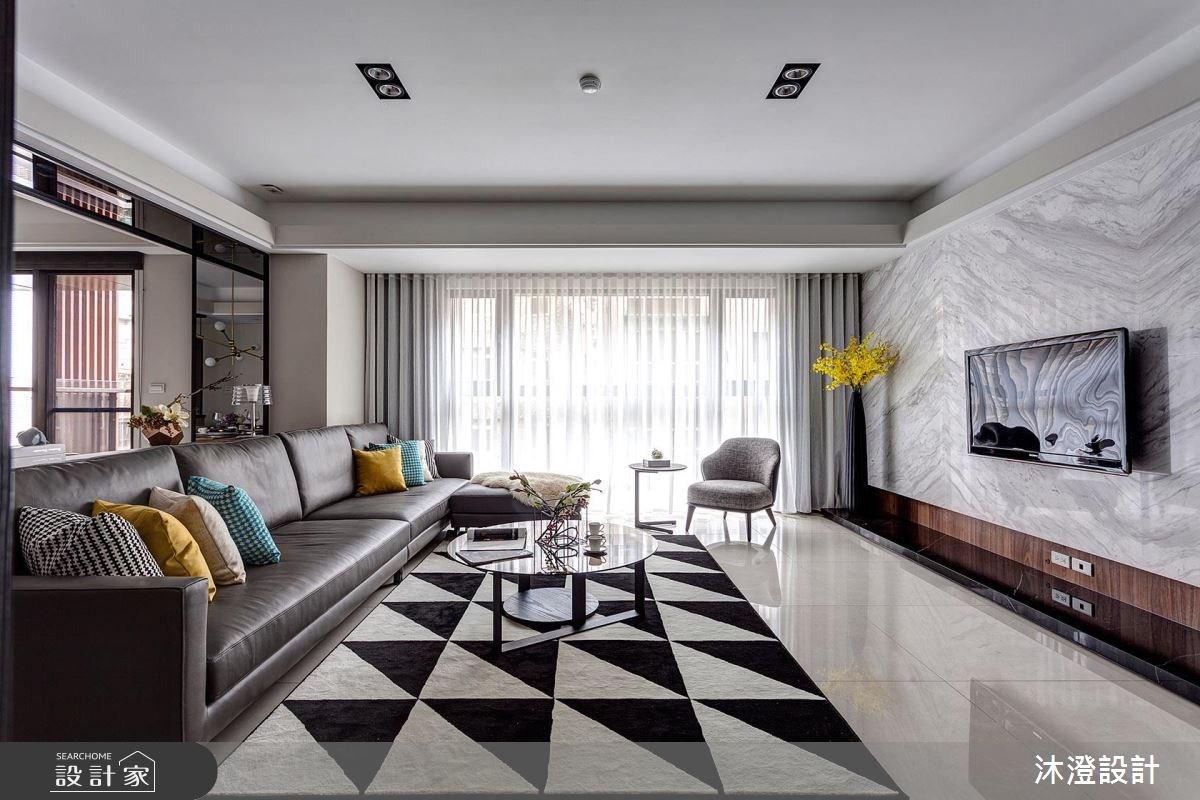 暖感灰藍 X 幾何創意  現代風大宅演繹時髦趣味