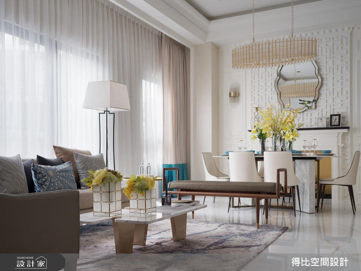 微東方的時髦新古典!燙金與孔雀藍交疊的透天別墅