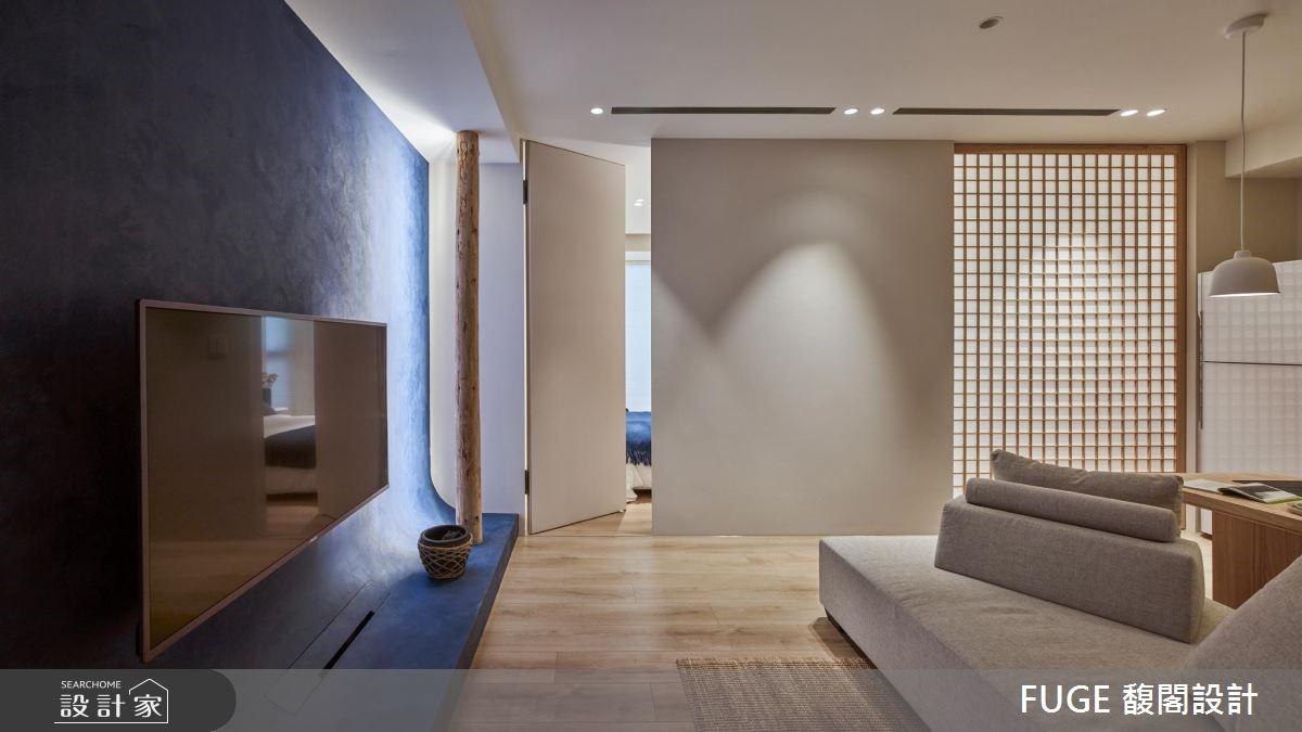 小坪數也能實現內斂沉穩的日式禪風,弧行動線令室內外接軌與自然更親密