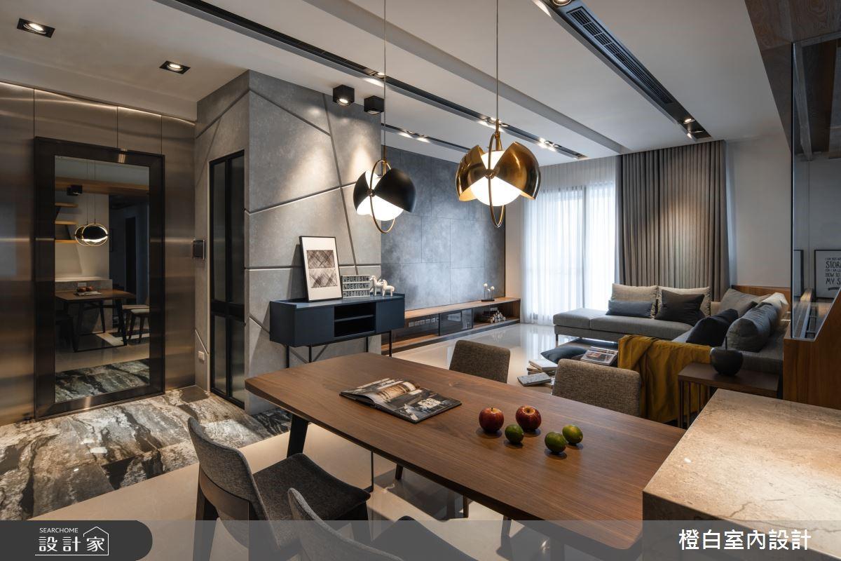 鐵件、金屬吊燈、黑板牆,打造微奢華的45坪現代混搭風