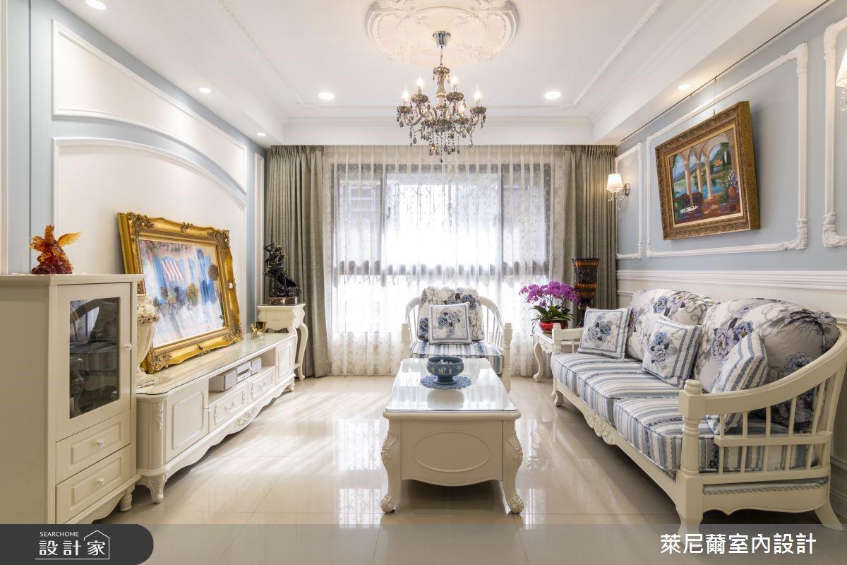 藝術掛畫妝點人文氣息,清新水藍勾勒27坪新古典美宅