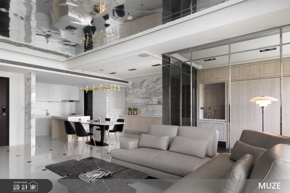 玻璃屋X雲彩電視牆X鏡面天花 交織一片純淨透亮現代風