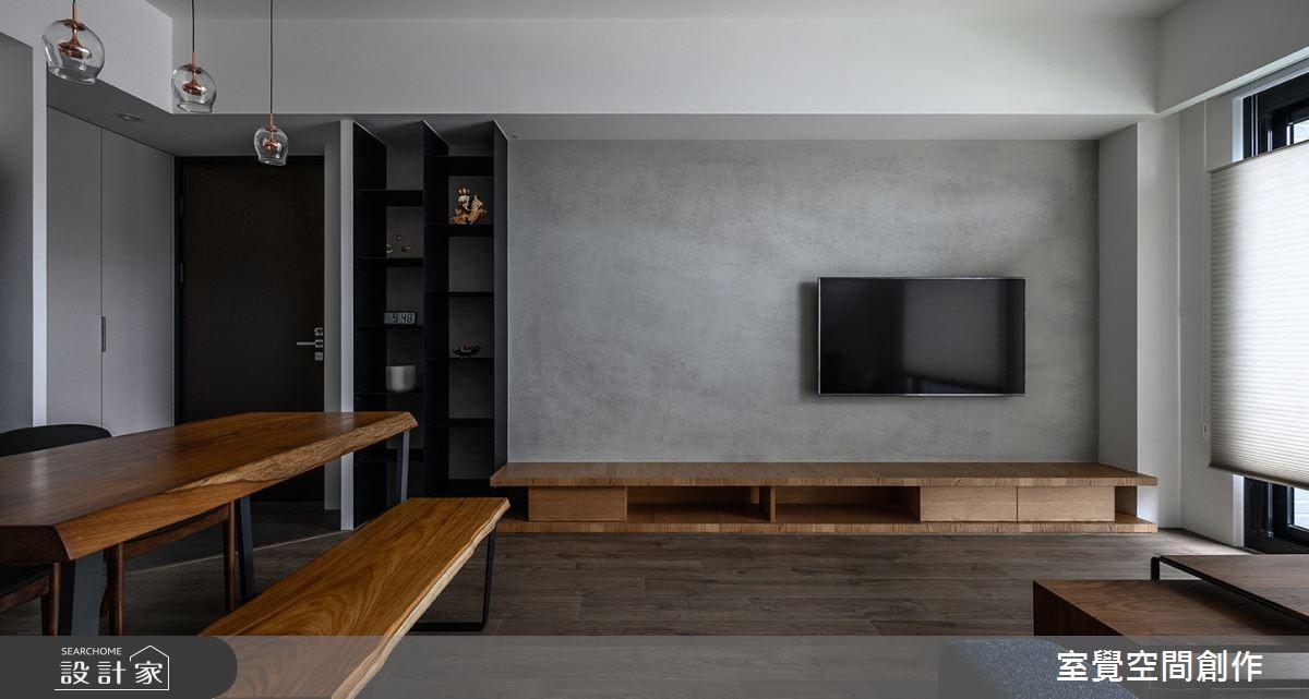 15坪現代風小公寓,加入輕工業風元素「灰階、黑鐵、暖木」突顯簡約美感