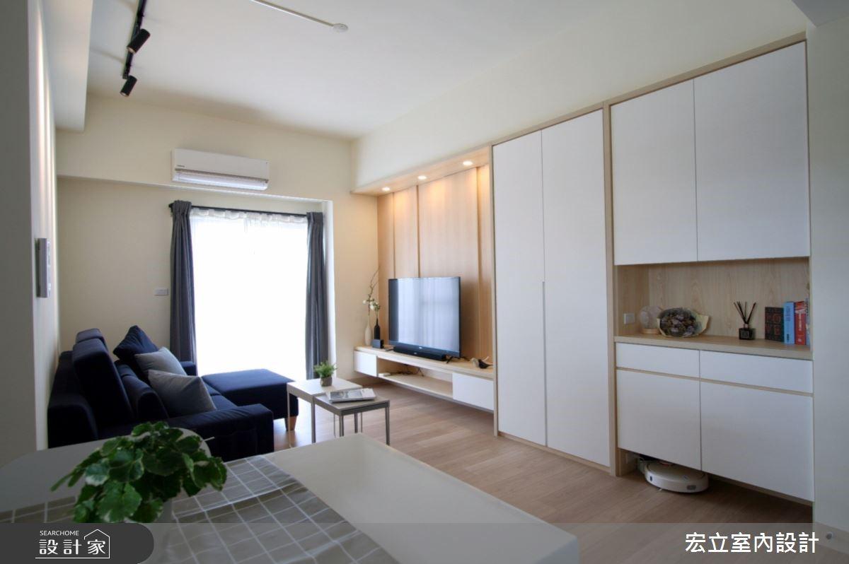 16坪簡約無印風小公寓,隱藏式收納 + 中島吧台還給兩人清爽視野!