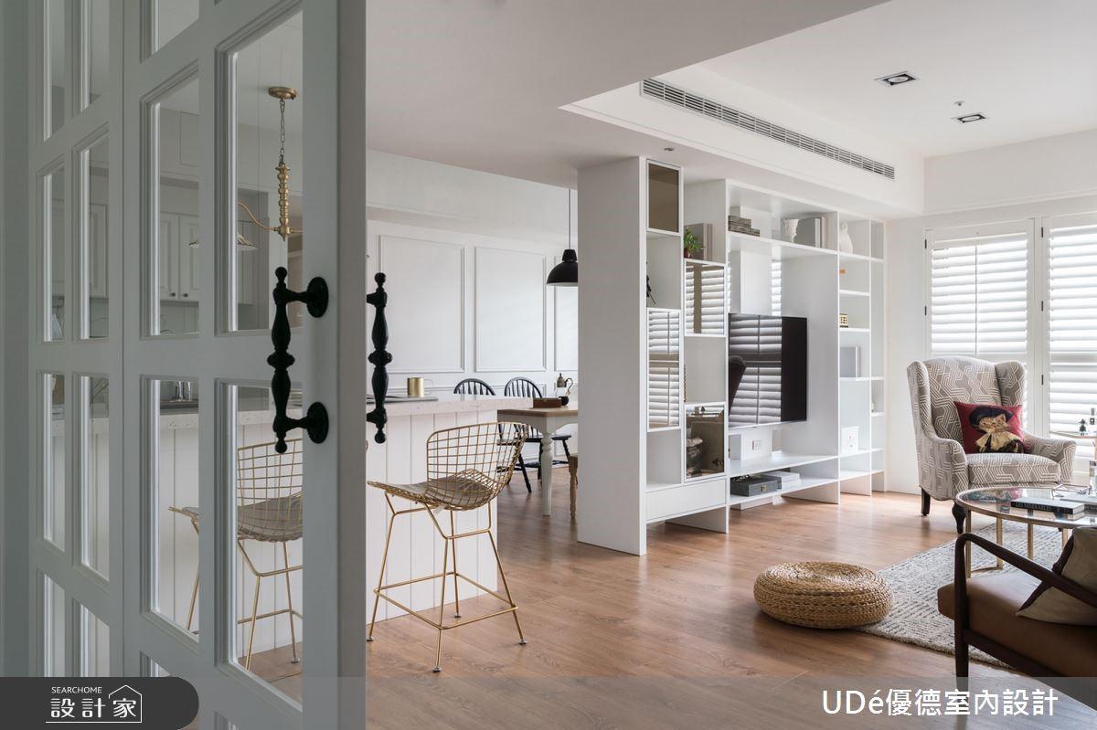 35 坪白系質感「輕美式風」,白線板 + 白百葉窗打造完美光感宅