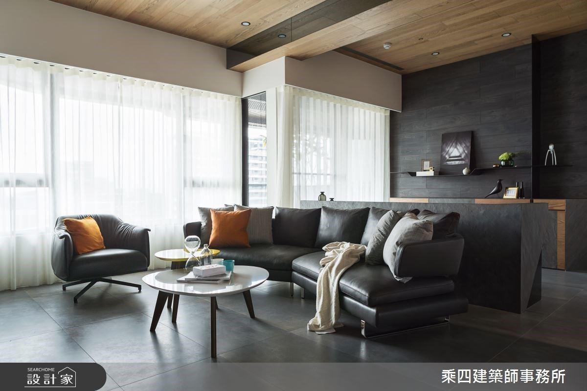 冷石暖木的完美平衡!48 坪型都會霧黑系現代宅