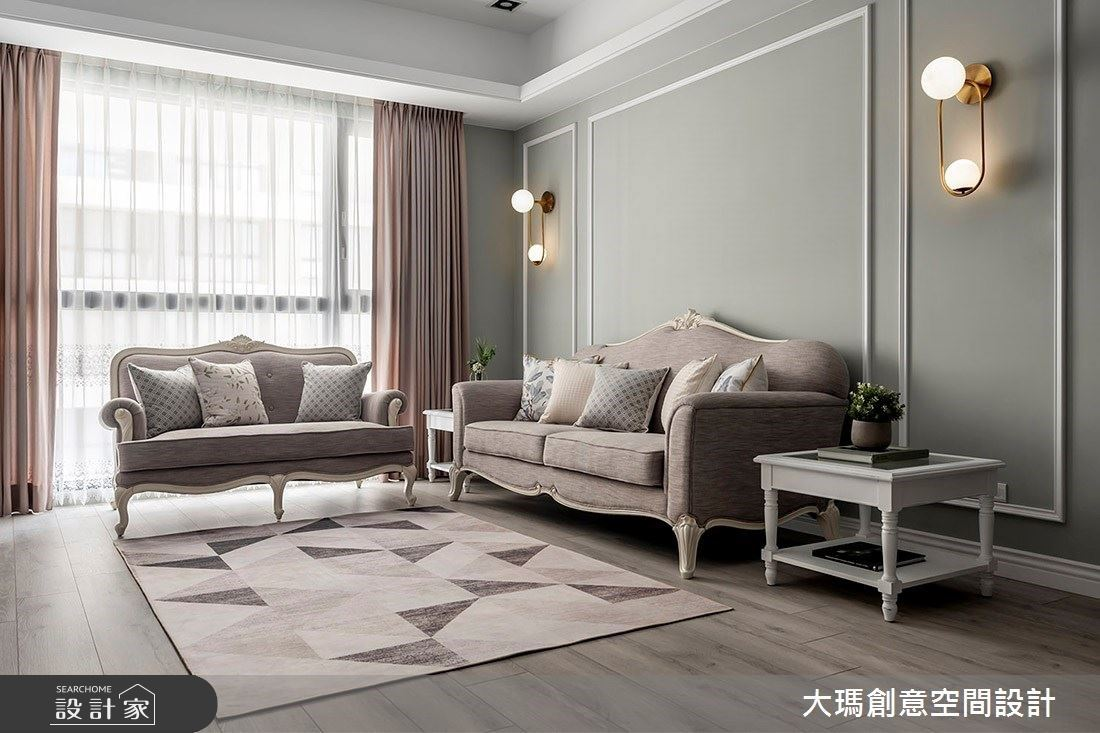 莫蘭迪色系「抹茶歐蕾 + 灰棕藕芋」,32 坪 IG 網美風新古典之家