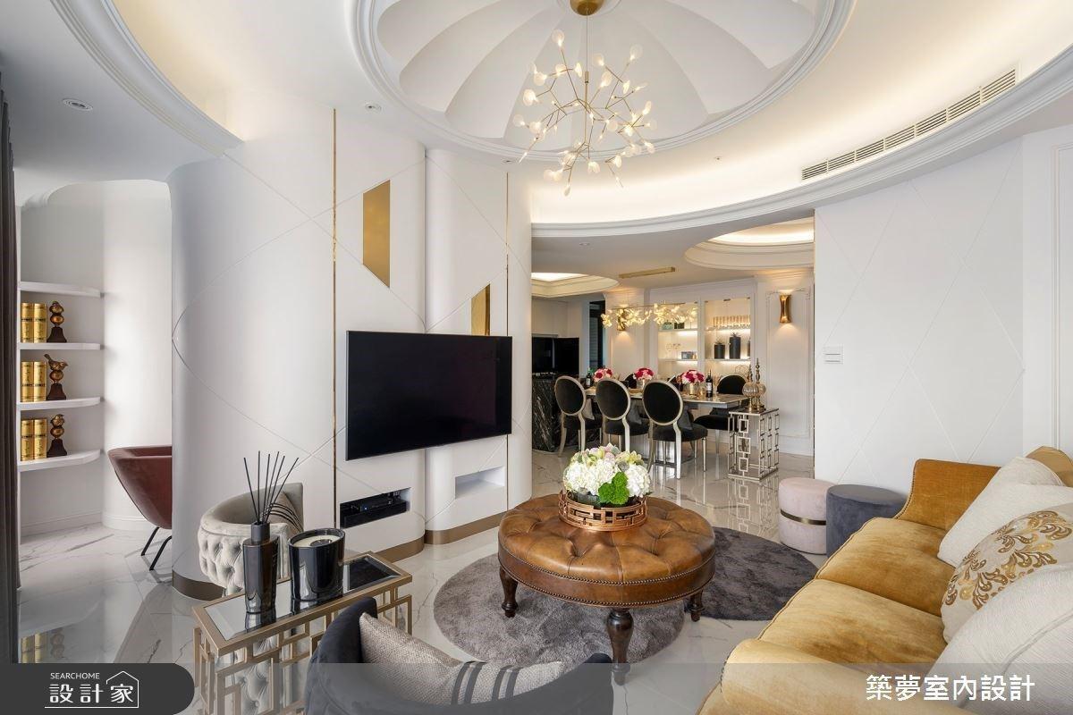 「同心圓」框出低矮房裡的挑高視野!新古典豪宅帶給三代同堂全方位享受
