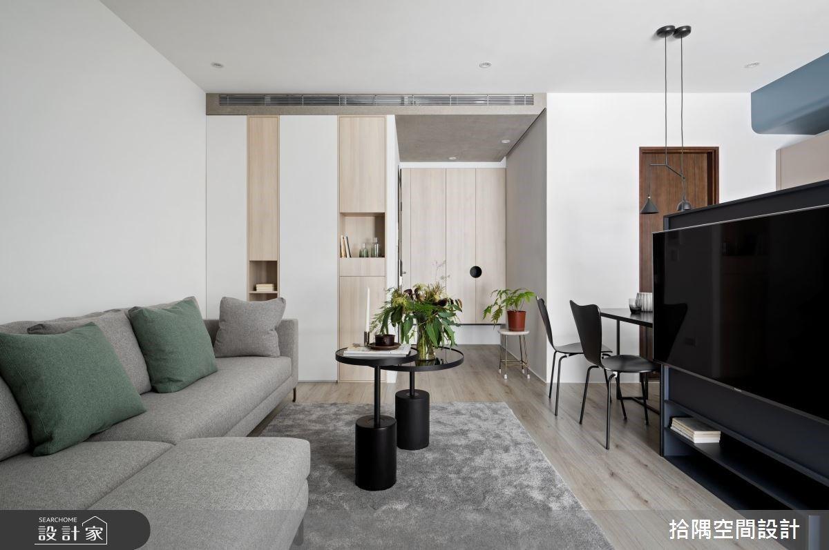 電視牆結合中島吧台?傾注莫蘭迪色的 13 坪小宅,詩意雋永的清新質感