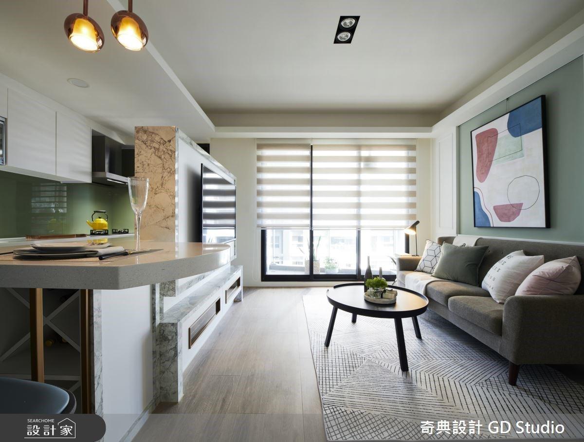 開放廚房與中島吧台帶來美式生活體驗!4 人宅在 20 坪小家也有出國度假感
