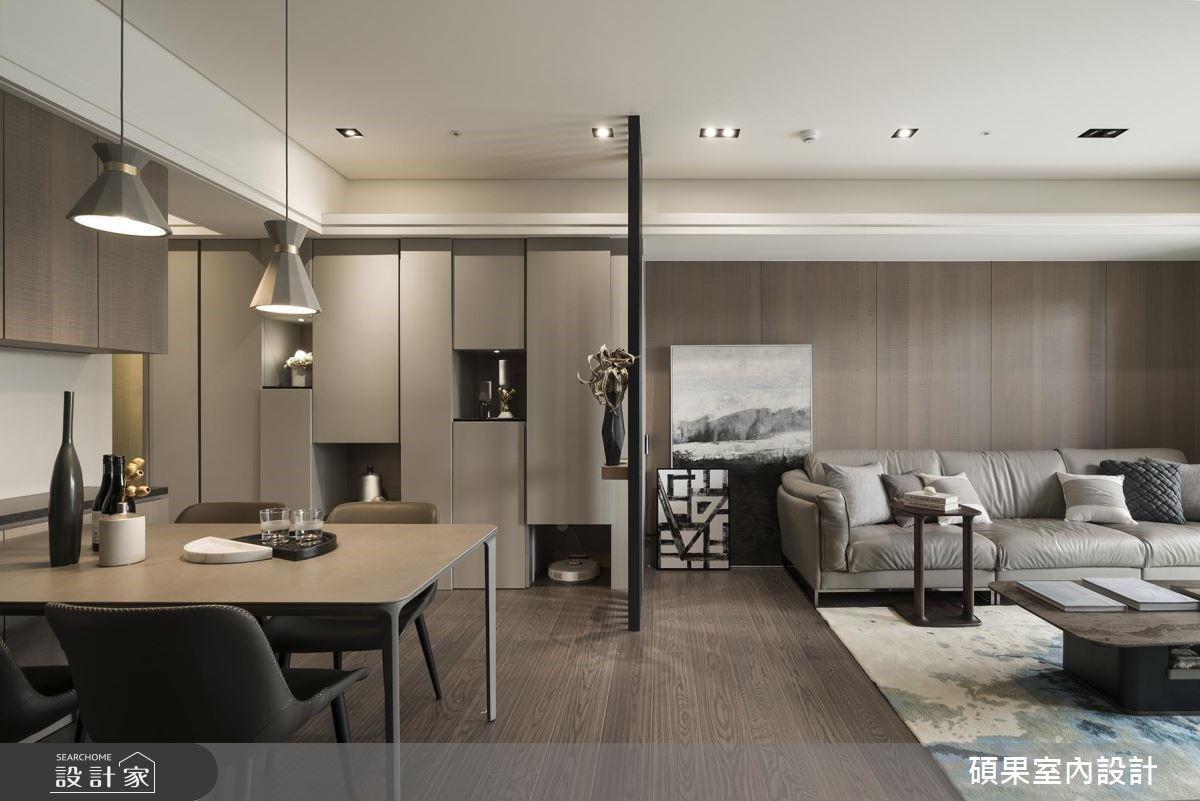 進入大地色系的深沉魅力!搭配裸灰與鐵件,寫下 40 坪現代宅的迷人有型