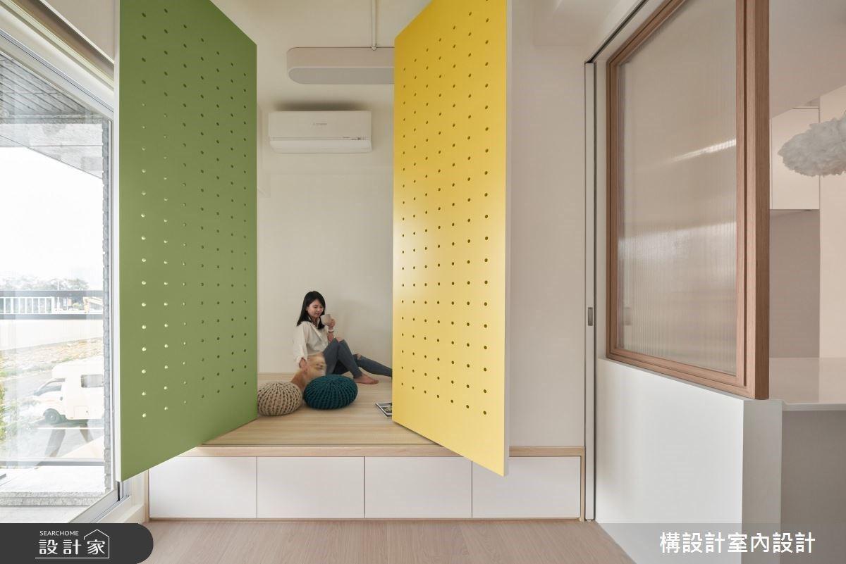 「洞洞板 + 旋轉門」12 坪北歐風簡約宅!海量收納電視牆櫃的甜蜜小家庭