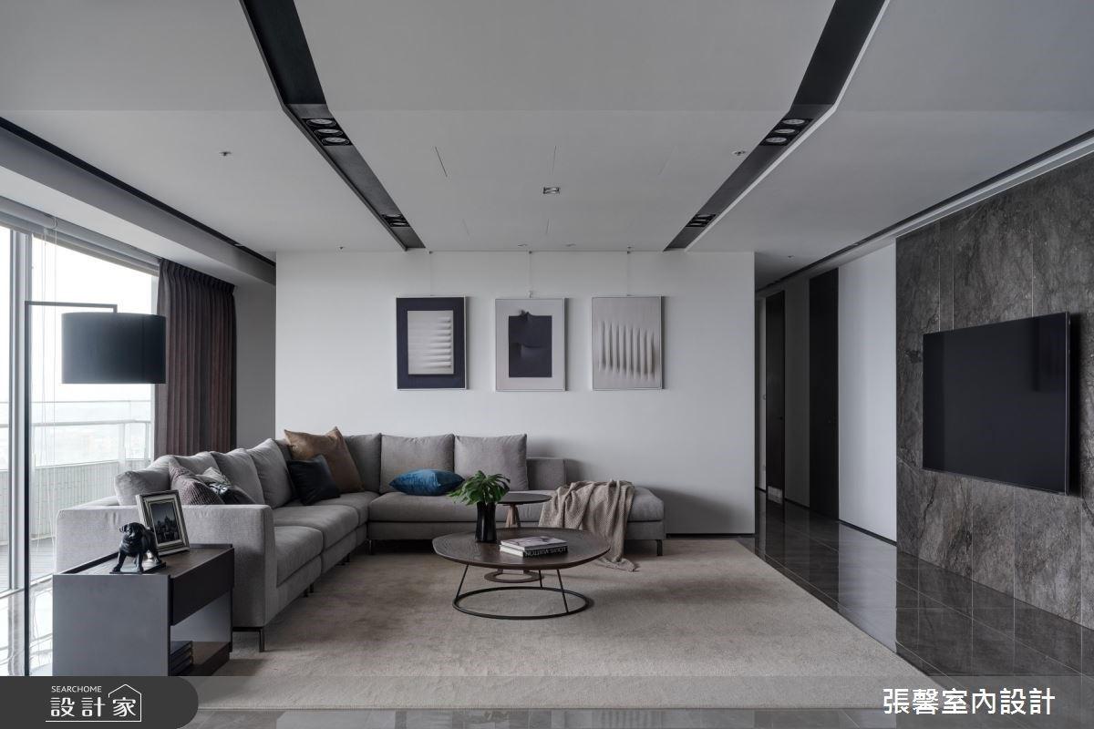 經典不敗的黑、白、灰三色!76 坪現代風豪宅,寫下大理石與光影的沉穩韻味