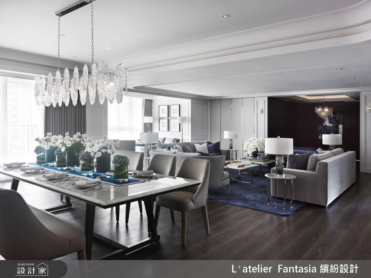 尊爵藍揚起新古典優雅豪宅 大客廳、藝術質感餐廳與開放中島廚房的動線格局完美術