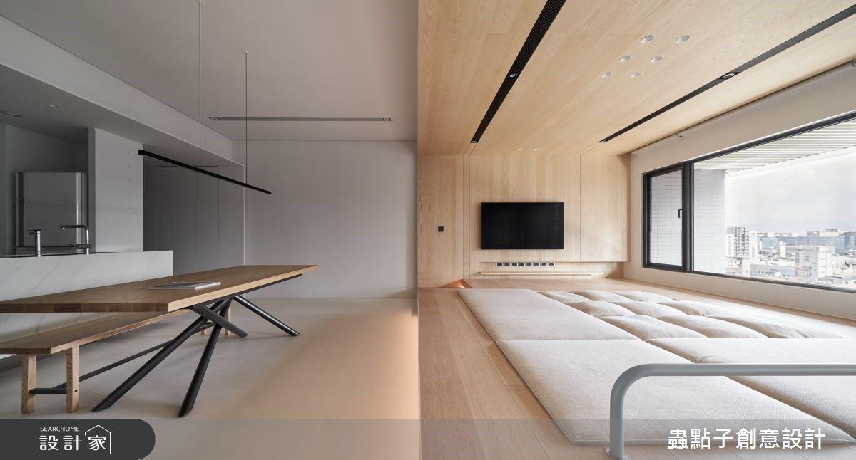 收納最大化、放鬆更彈性!下沉式沙發把簡約客廳變成超大型和室