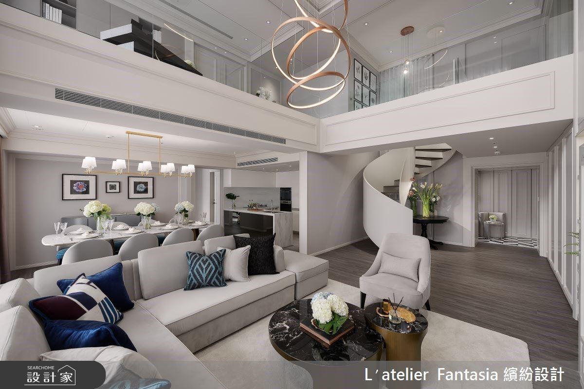 穿透視野與空氣感旋轉梯!共享與獨立領域交織的新古典樓中樓私宅