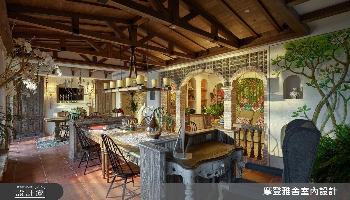室內設計師幫自己圓夢!古堡拱門、復古花磚、手繪藝術打造原汁原味鄉村風