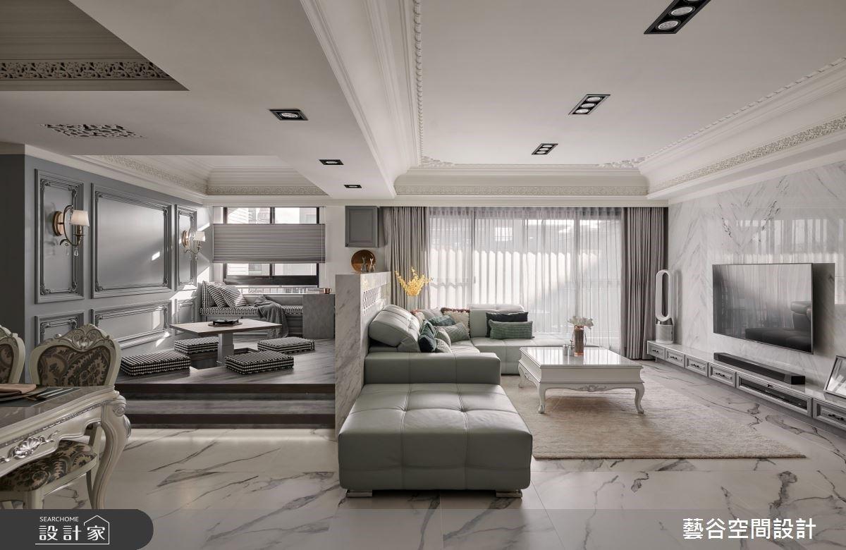 線板包覆海量收納、沙發矮牆放大空間!將雜亂的生活感藏於新古典設計