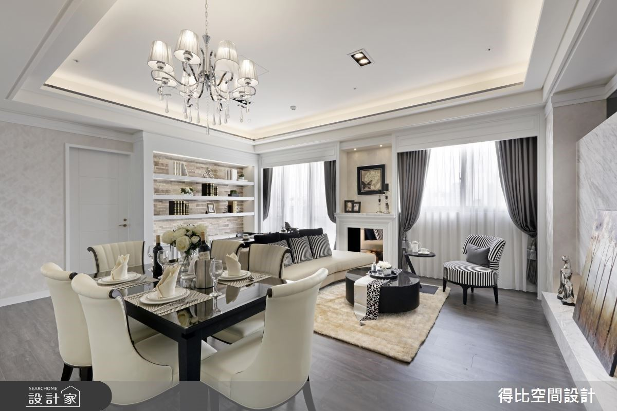 白色清新新古典宅!打開公領域視野,壁爐、藝術畫與展示櫃妝點出不凡質感
