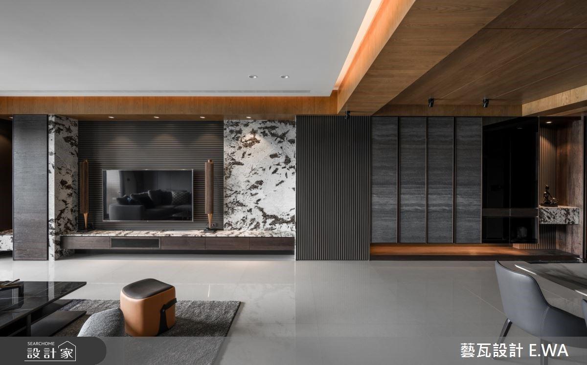 宛如山林度假中!木紋X格柵X石材,交織舒心開闊的現代風豪宅
