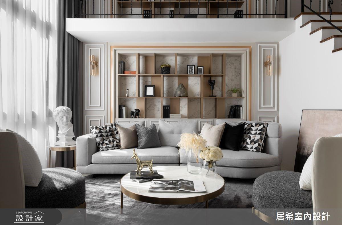 挑高書牆展現氣派與精緻!56 坪新古典別墅比飯店更享受