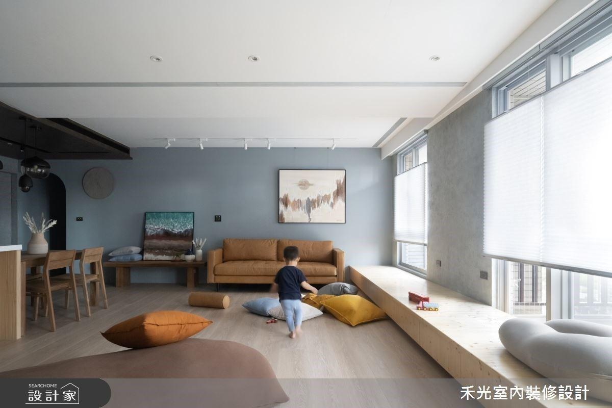家是充滿笑聲的工業風樂園!讓寬敞客廳、大臥榻與中島吧檯來實現