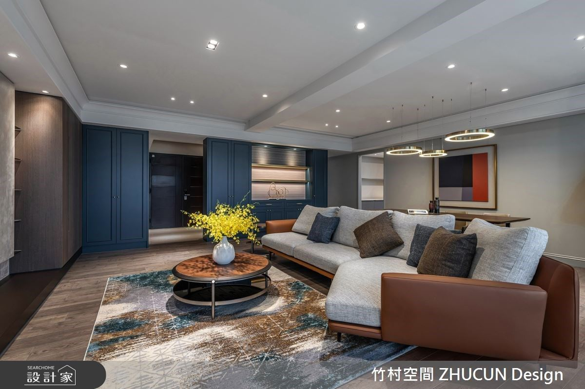 復古版的75坪都會美式風宅,「復古藍+摩登棕+莫蘭迪」的經典顏色調配!