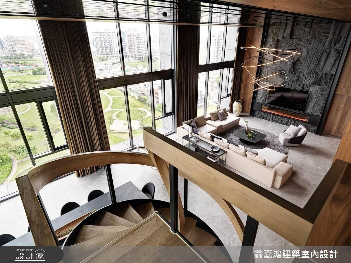 將山林的氣派搬進樓中樓!旋轉樓梯串連複層設計,機能與景觀兼備的現代度假豪邸