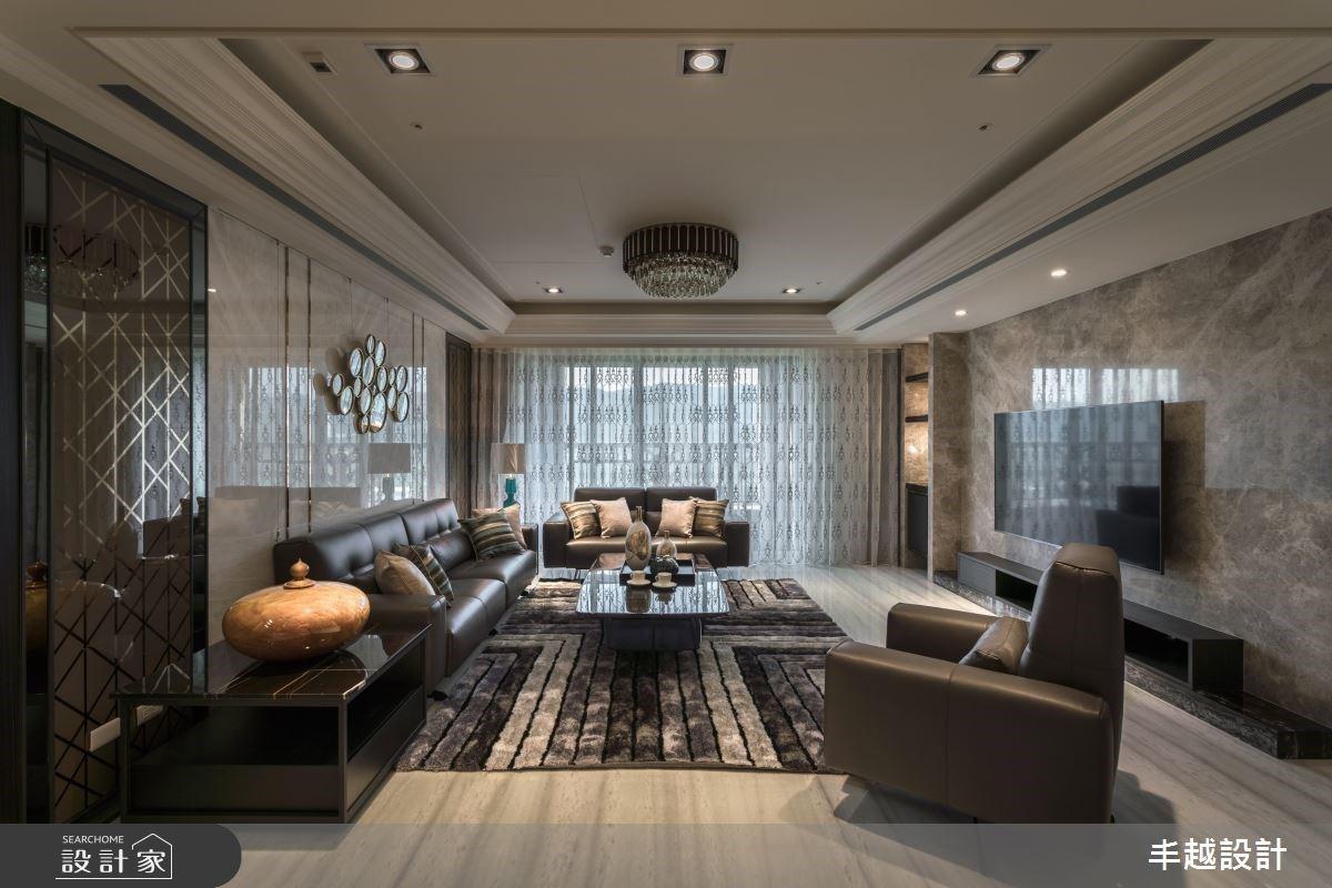 大理石敞開95坪豪宅尺度,異材質、色彩交織現代風的大器面貌