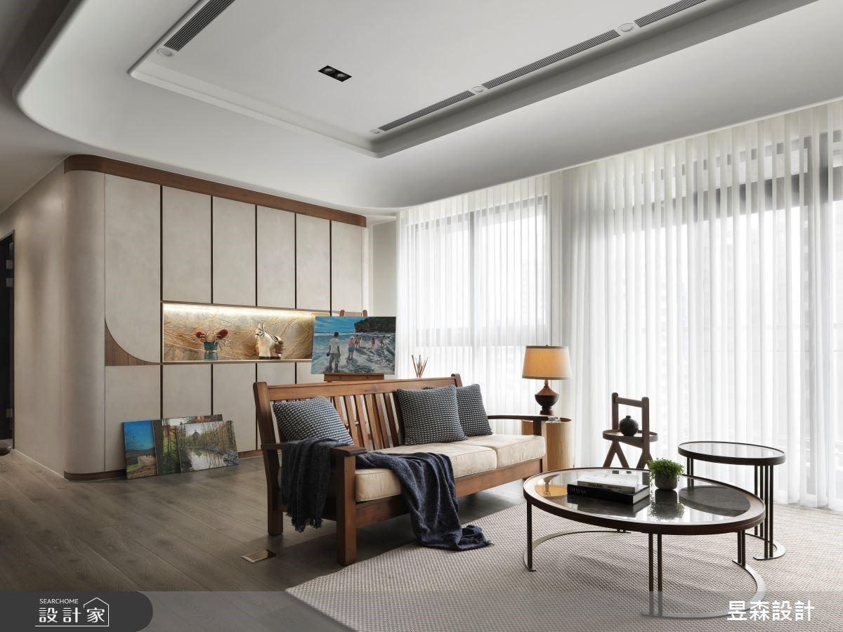 優雅大地色刷出混搭風!光感大客廳作畫、中島吧台小酌的質感好生活