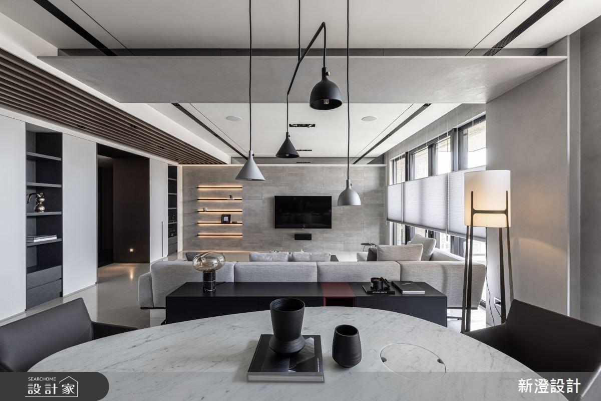 沐浴在光感客廳的幸福感!48坪大器現代風,以簡練手法創造優雅調性