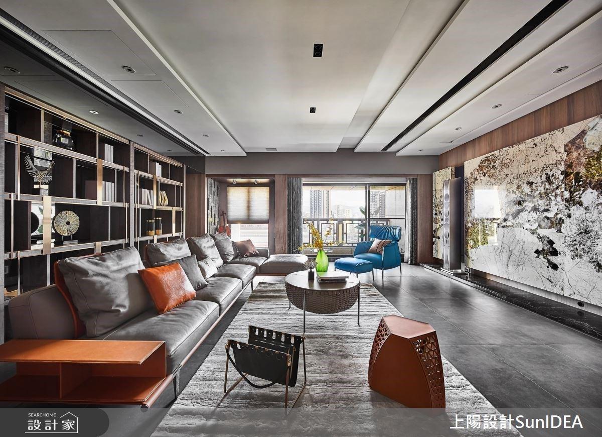 吹奏藍色華麗交響樂章!書房為中軸線貫穿且放大場域,展現現代風豪宅氣度
