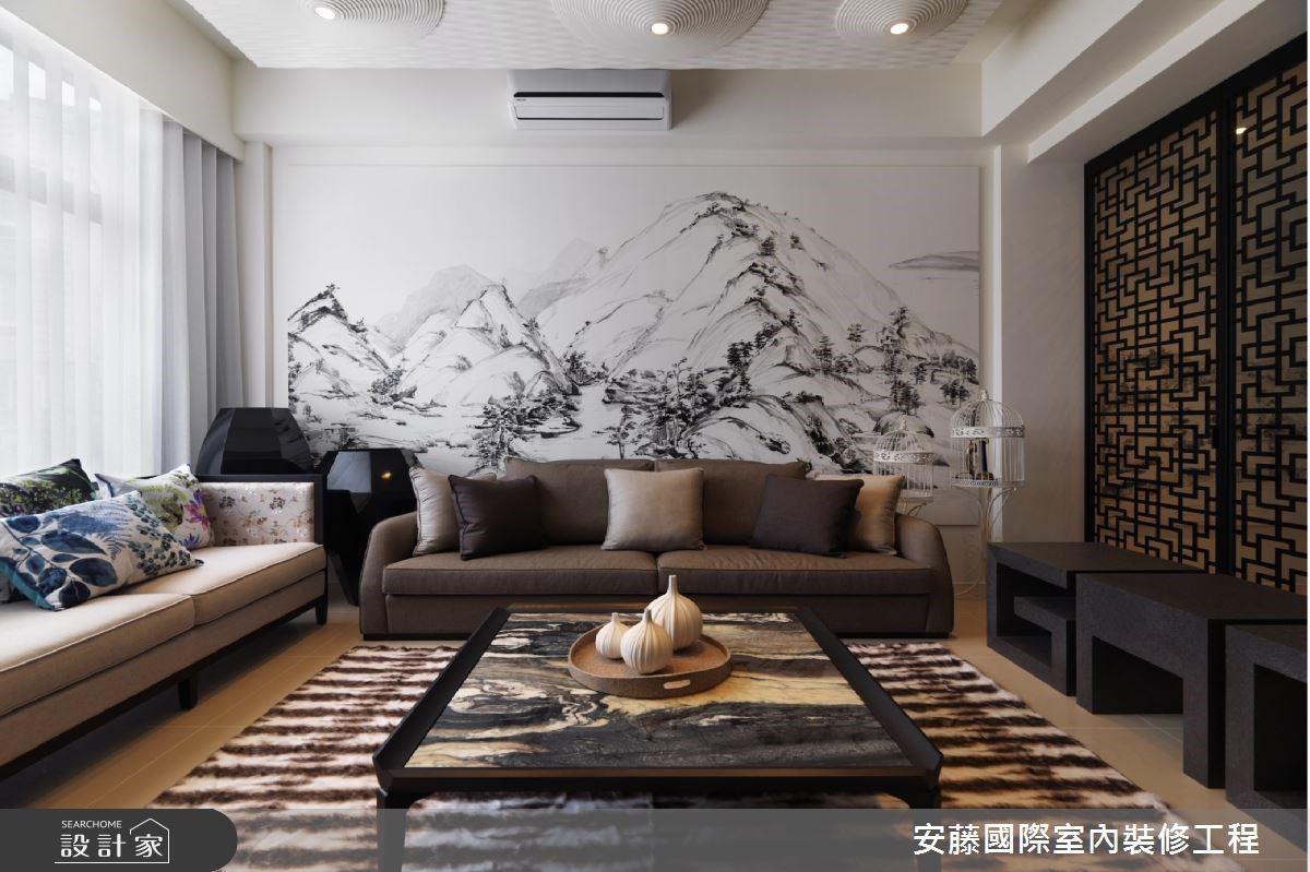 背山面水的透天別墅,引名畫入室讓新中式宅綿延滿室禪意氣息
