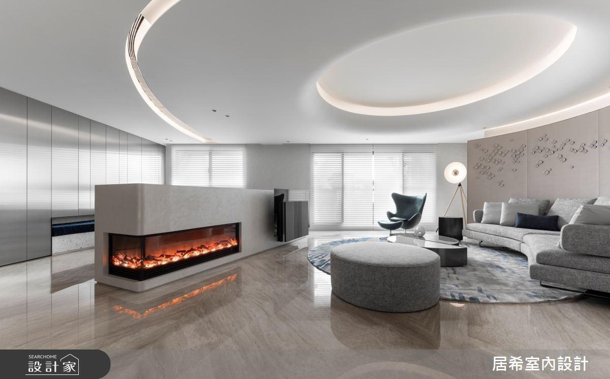 優雅寂靜的留白美學!56坪現代風大宅,以圓弧燈帶劃下新東方意象
