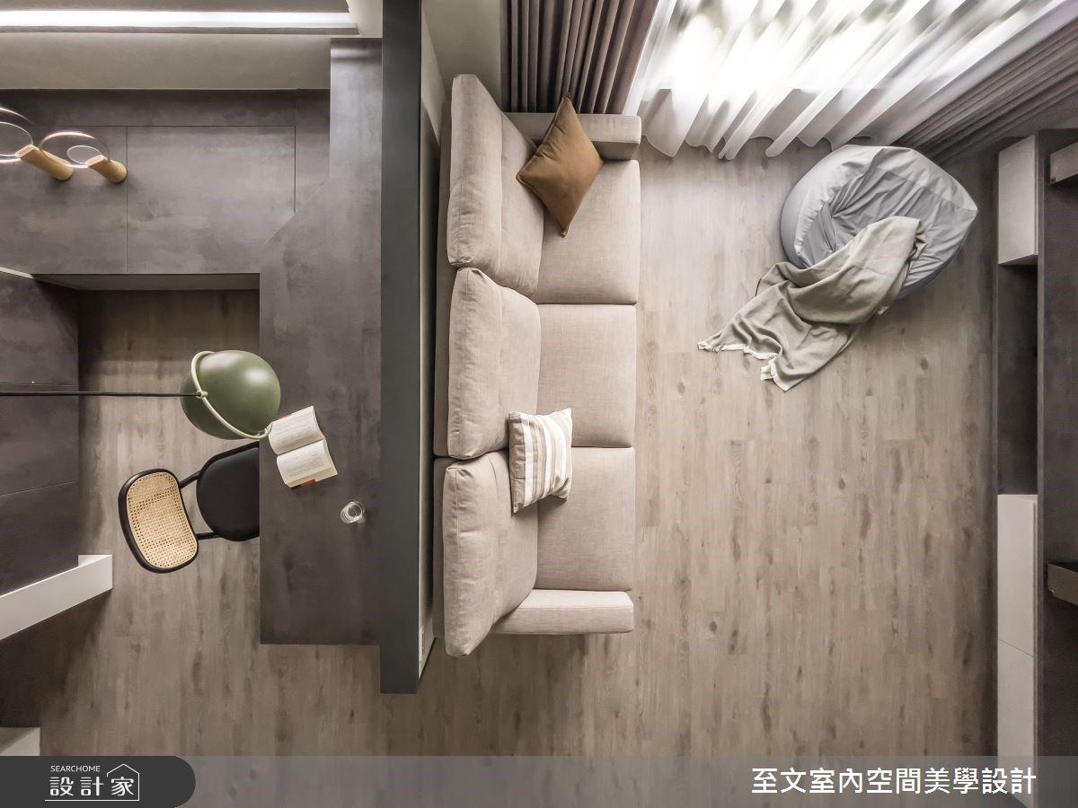 23坪莫蘭迪色極簡風,中島吧檯與美型收納豐富使用機能