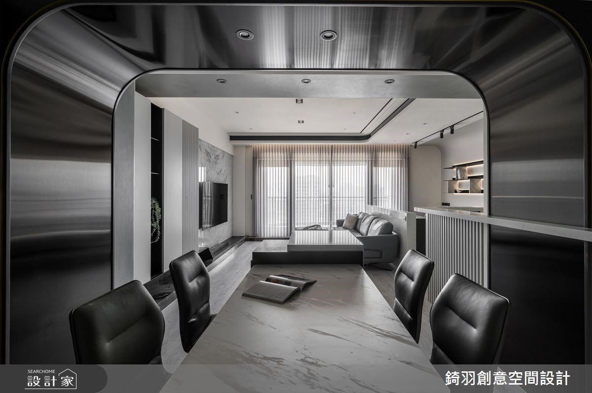 實現質感現代宅!石材電視牆、鍍鈦拱門與美型收納,交織大器人文的空間氛圍