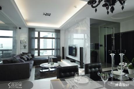 黑、灰、白質感宅 大理石和亮面材質為空間奢華定調