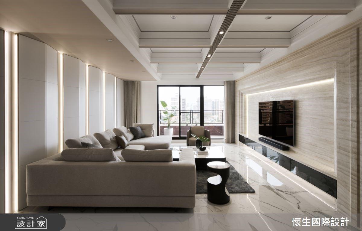 典雅生活儀式感!經典美式風為底蘊,造型沙發背牆、格狀天花板絕美設計