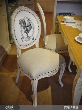 凱斯法式鉚釘繃布餐椅-餐椅