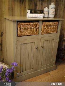 安格斯美式籐籃實木邊櫃-收納櫃