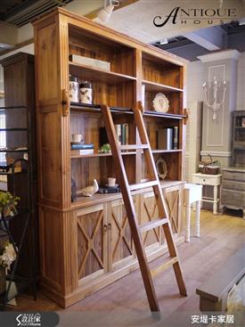亞力山卓經典美式附梯書櫃-書櫃