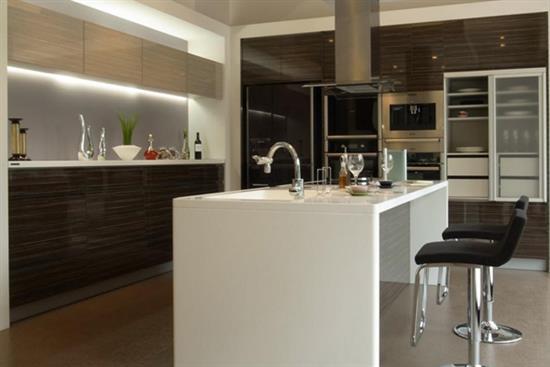 一太日本原裝無把手深木紋L型+中島廚具-廚房設備