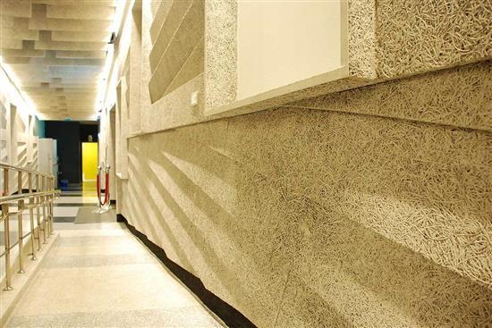 鑽泥板-造型吸音牆設計-耐燃木絲水泥板